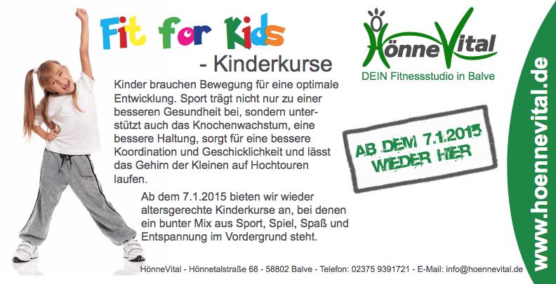 Kinderkurse FIT FOR KIDS im HönneVital